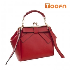 Toofn Handbag Bowknot Handbag Shoulder Crossbody Bag Red F