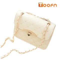 Toofn Handbag New Brand Plaid Chain Belt Fashion Shoulder bags off-white