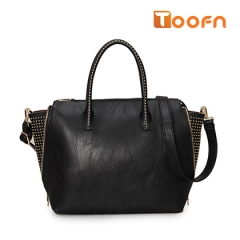 Toofn Handbag PU Leather Tote Bag,Ladies Hand Bag Black F
