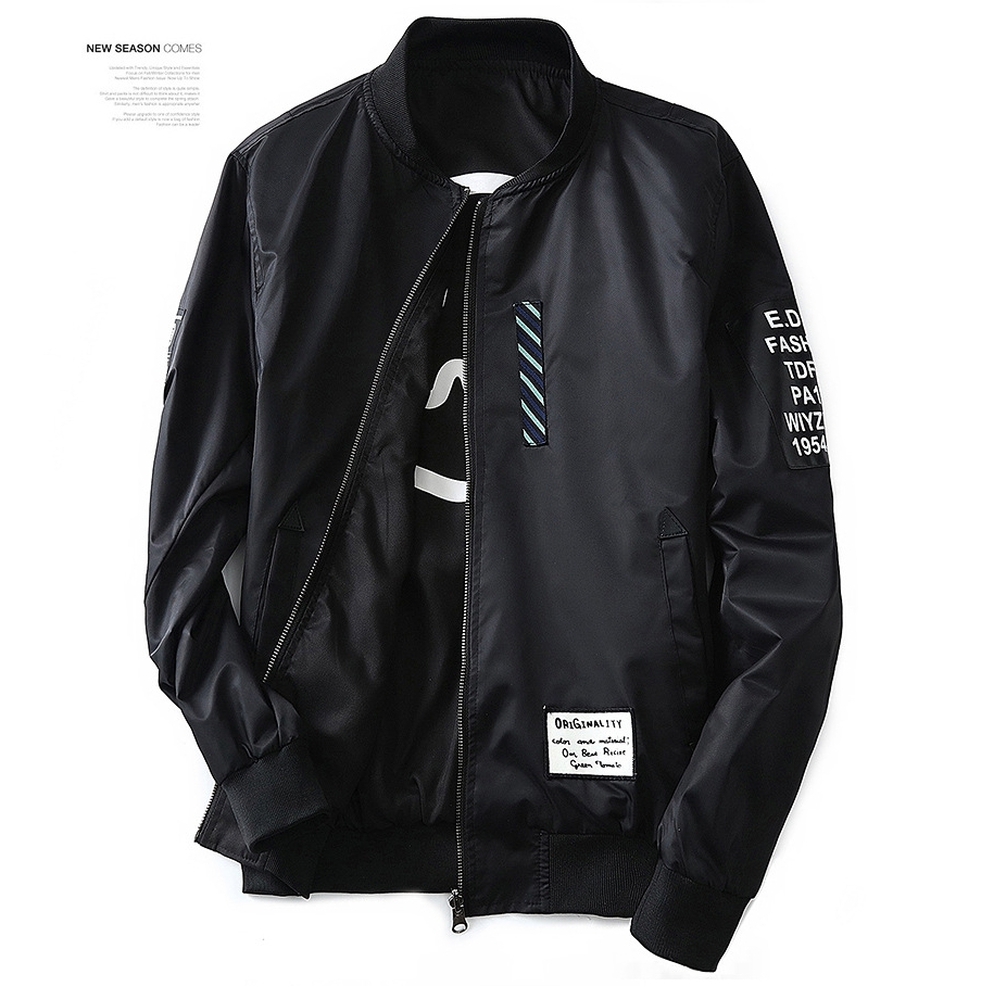 fashion wind breaker men jacket with patches both side wear thin