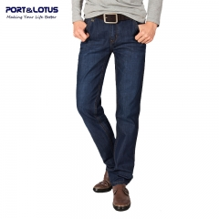 Port&Lotus Casual Business Jeans New Arrival With Zipper Fly Solid Color Full Length Straight 001 Blue 28