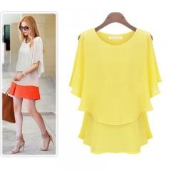 Women Chiffon Blouse Green Yellow White Black Color Yellow XL
