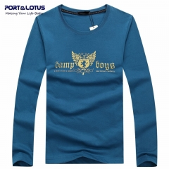 Port&Lotus Men's Long Sleeve T Shirt Autumn And Winter Cotton Round Neck Character Brand  SD051 gray m
