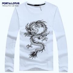 "Port&Lotus Autumn Men ""s T-shirt New Long-sleeved T-shirt Casual Fashion T-shirt Men's  SD052 gray m"
