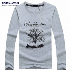 Port&Lotus Autumn Men's Long Sleeve T Shirt Printed Cotton Round Neck Character Brand Cotton SD053 gray m
