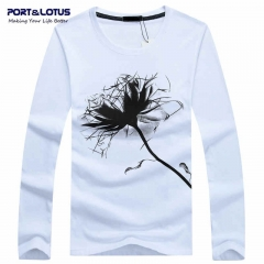 Port&Lotus Men's Long Sleeve T Shirt Printed Cotton Round Neck Character Brand  SD055 gray m