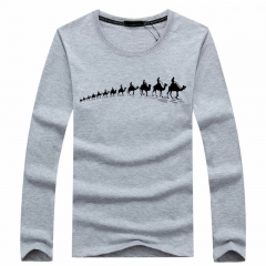 Port&Lotus Autumn New Men 's Long - Sleeved T - shirt Slim Round Neck Character Brand SD056 gray m