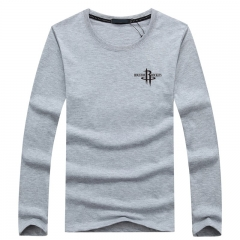 Port&Lotus Men Long Sleeve O-Neck Men's T-Shirts Camisa Masculina Brand Male Apparel   SD057 gray m
