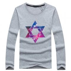 Port&Lotus Men's T Shirt Print Starry Sky Six Corner Star Long Sleeve T-Shirt O Neck Cotton SD061 gray m