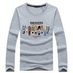Port&Lotus Men's Cartoon Animation Print Shirt Casual Long Sleeve Men's T Shirt Spring Autumn  SD063 gray m
