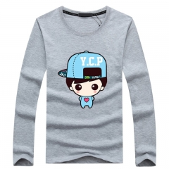 Port&Lotus Long Sleeve in Men's T Shirt Famous Brand Casual Clothes Camisa Masculina Printed   SD068 gray m