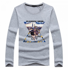 Port&Lotus Camisa Masculina Men Long Sleeve O-Neck Male T Shirts Brand Mens Clothing Casual  SD071 gray m