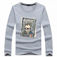 Port&Lotus Men Long Sleeve O-Neck Male T-Shirts Famous Brand Mens Clothing Casual Printed   SD070 gray m
