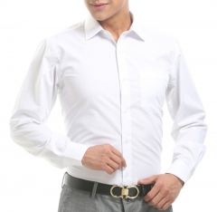 Port&Lotus Men Dress Shirts Long Sleeve Business Male Casual Pure Color Shirts 075 white m