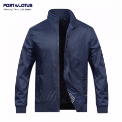Port&Lotus Men Blue Jacket New Spring Autumn Casual Thin Outdoor Men Coats Solid Fashion 010 dark blue l