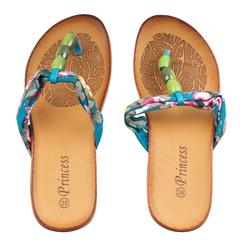 Blue Flowered Flip Flops/Sandals(Blue 38)