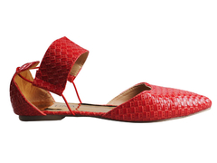 Red two piece toe pointed ballerinas with ankle straps.