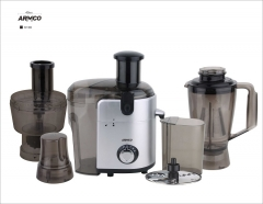 ARMCO Food Factory: 6-in-1 Juicer, Blender, Grinder, Mincer, Slicer, Shredder, Mill, (AJB-1000GC), Silver & Black
