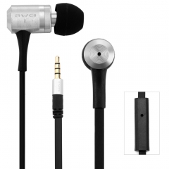 Awei ES100i 1.2m Cable Length In-ear Earphone with Mic for Mobile Phone Tablet PC Silver
