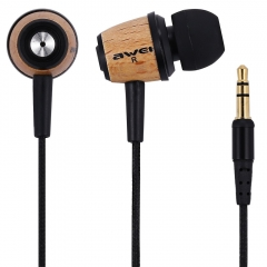 Awei ES - Q9 Wood Style 1.2m Cable Length In-ear Earphone for Mobile Phone Tablet PC Brown