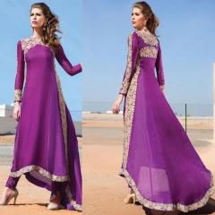 Classical Style Lace Maxi Dress Woman sleeve Irregular Hem Dress Evening Dress Purple S