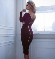 Women Simple Round Collar Long SLeeve Zipper Design Skinny Midi Dress Wine Red L