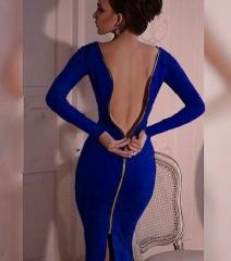 Women Simple Round Collar Long SLeeve Zipper Design Skinny Midi Dress Blue XL