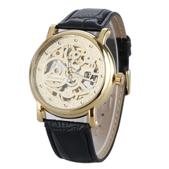Stainless Steel Auto Mechanical Men Leather Watch Gold