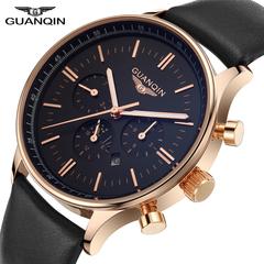 Men Big Dial Quartz Wristwatch Black+gold