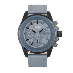 Men Leather Strap Military Wristwatch Gray