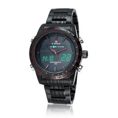 Men Waterproof Stainless Steel LED Dual Display Watch Red