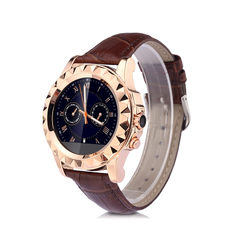 Multifuntional Smart Watch Calls SMS Sedentary Reminder BT Music Pedometer Heart Rate UV Test Gold Leather