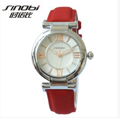 Women Black Leather Strap Popular Watch Red+silver