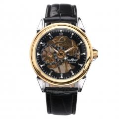 Men Mechanical Arabic Numerals Wristwatch Black