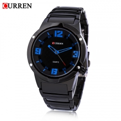 CURREN 8111 Male Quartz Watch Concise Dial 30m Water Resistance Stainless Steel Strap Wristwatch Blue One Size