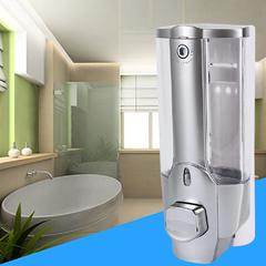 350ml Wall Mount Shower Bath Soap Shampoo Dispenser with a Lock for Bathroom Washroom Silver One Size