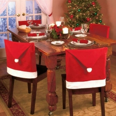 6pcs Santa Claus Hat Chair Cover Christmas Decoration for Home Party Holiday Red One Size