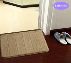 40 x 60cm Coral Velvet Bathroom Mat Non-slip Memory Foam Rug Soft Floor Carpet Silver Gray 40 x 60cm