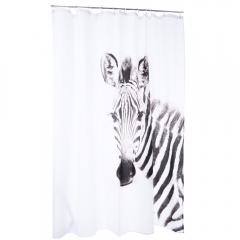 3D Zebra Pattern Water-resistant Bathing Shower Curtain Polyester Bathroom Decor 180 X 200CM as the picture 180 X 200CM