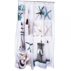 3D Blue Sea Life Seashell Pattern Water-resistant Bathing Shower Curtain Polyester Bathroom Decor as the picture 180 X 180CM