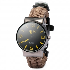 Outdoor 5 in 1 Travel Watch with Fire Starter Paracord Compass Whistle Rescue Bracelet Khaki 25.33×4.17×1.65  CM