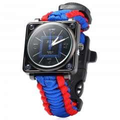 Outdoor Watch with Survival Compass Whistle Fire Starter Watchband Bracelet Blue and Red One size