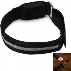 Outdoor Running LED Light Flash Nylon Arm Band Reflective Wristband Wrist Collar Ring Black