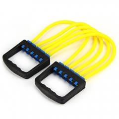 Portable Resistant Chest Expander Puller Muscles Fitness Band 5 Tube Rubber Rope Yellow One size