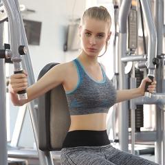 Women Running Sports Bra Seamless Padded Sports Bra Professional Athletic Vest Fitness Running Bra Blue M
