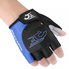 Outdoor Unisex Shock-absorbing Foam Pad Half Finger Cycling Gloves Blue with Black XL