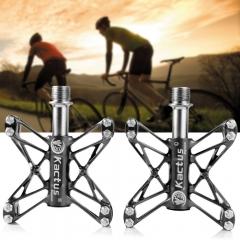 Kactus KTPD - 13C 2PCS Bike MTB Flat Pedals Magnesium Steel Axle CNC 3 Bearings Footrest Black