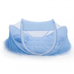 4pcs Babies Mattress Pillow Portable Foldable Crib with Mosquito Net Blue One size