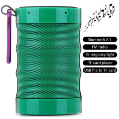 CX01 MIC Outdoor Wireless Bluetooth 2.1 Speaker with Emergency Flashlight Built-in Lithium Battery Green One Size