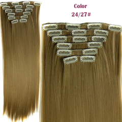 2016 New Straight 16 Clips in Hair Styling Synthetic Extensions  for Christmas Gift 24/27# One Size